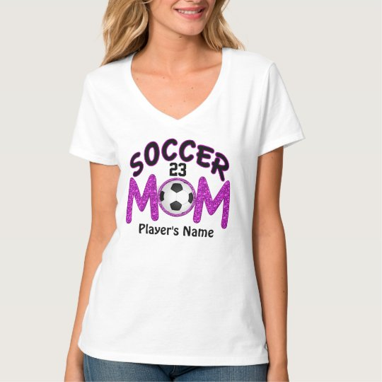 Player's NAME and NUMBER on Soccer Mom TShirts