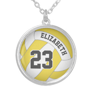 player's name/jersey number ANY color volleyball Silver Plated Necklace