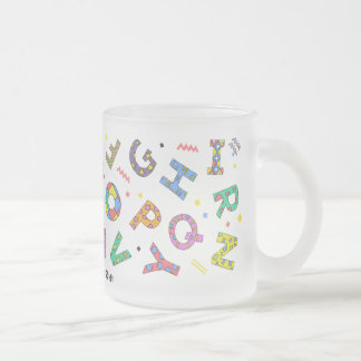 Playful Alphabet Glass Frosted Glass Coffee Mug