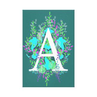 Playful and Quaint Initial Floral Letter Design Canvas Print