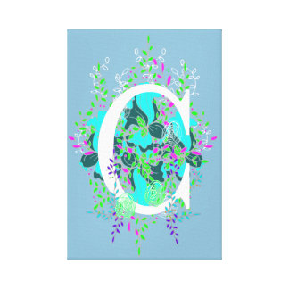 Playful and Quaint Initial Floral Letter Design Canvas Print