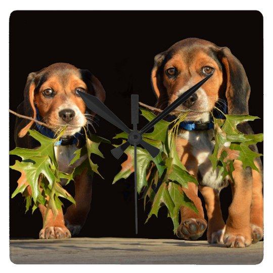 Playful Beagle Brothers Puppies Clock