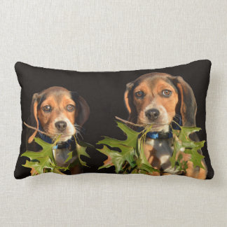 Playful Beagle Brothers Puppies Lumbar Pillow