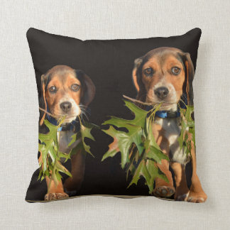 Playful Beagle Brothers Puppies Throw Pillow