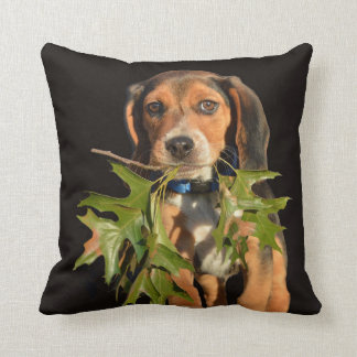 Playful Beagle Puppy With Leaves Throw Pillow