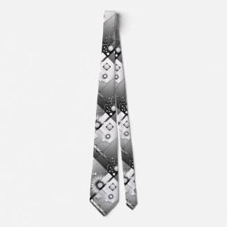 Playful Black and White Art Deco Tie