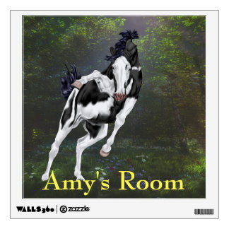 Playful Black and White Overo Paint Horse Wall Decal