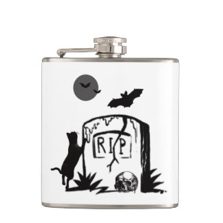 Playful Black Cat Flask