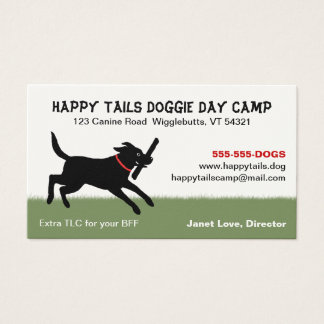 Playful Black Labrador Dog Pet Care Business Cards