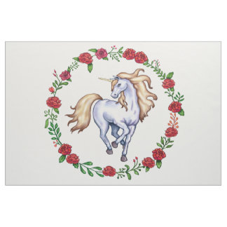 Playful Blonde Unicorn in a Circle of Red Roses Fabric