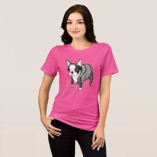 Playful Boston Terrier Puppy in a Tracksuit Tshirt