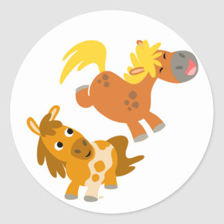 Playful Cartoon Ponies stcker Classic Round Sticker