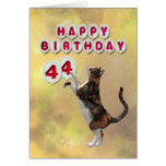 Playful cat and 44th Happy Birthday balloons Greeting Card
