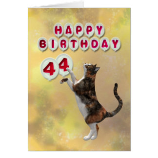 Playful cat and 44th Happy Birthday balloons Card