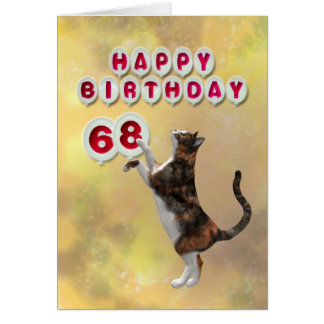 Playful cat and 68th Happy Birthday balloons Card