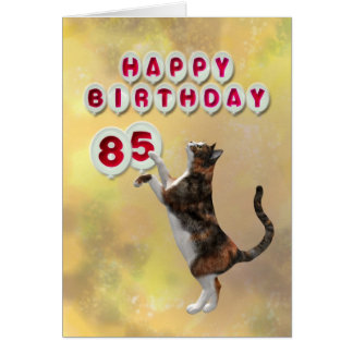 Playful cat and 85th Happy Birthday balloons Card