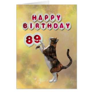 Playful cat and 89th Happy Birthday balloons Card