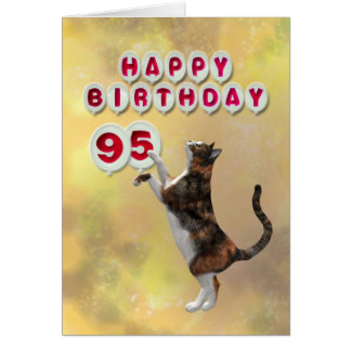 Playful cat and 95th Happy Birthday balloons Card