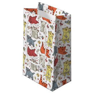 Playful Cats Pattern Small Gift Bag
