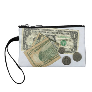 Playful coin purse with dollars and cents.
