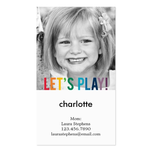 Playful Colors Mommy Card / Play Date Card Business Card Template