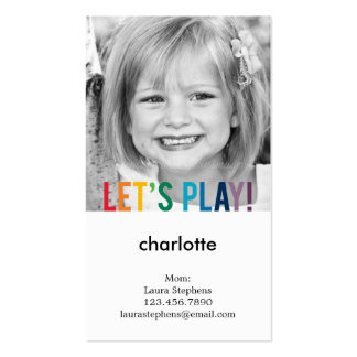 Playful Colors Mommy Card / Play Date Card Pack Of Standard Business Cards