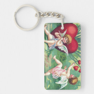 Playful Cupids Retro Cute Vintage Valentine Hearts Double-Sided Rectangular Acrylic Keychain