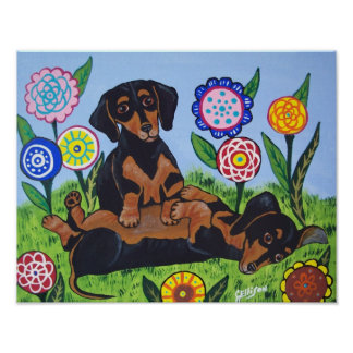 Playful Dachshunds Art Print