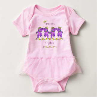 Playful Dancing Princess Bears Custom Name Baby Bodysuit