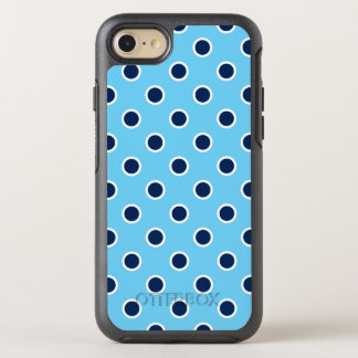 Playful Dark Blue Polka Dots on Light Blue OtterBox Symmetry iPhone 8/7 Case