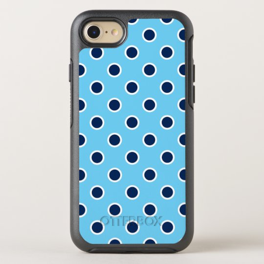 Playful Dark Blue Polka Dots on Light Blue OtterBox Symmetry iPhone 8/7 Case