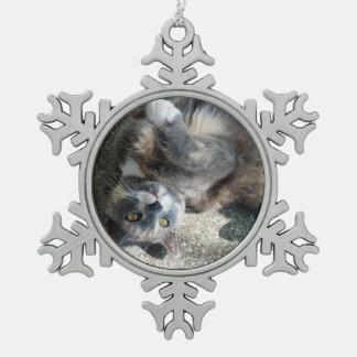 Playful Dilute Tortoiseshell Cat Snowflake Pewter Christmas Ornament