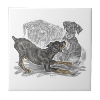 Playful Doberman Pinscher Puppies Tile