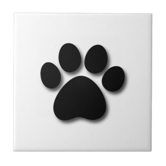 Playful Dog Paw Print for Dog Lover BLACK WHITE Tile