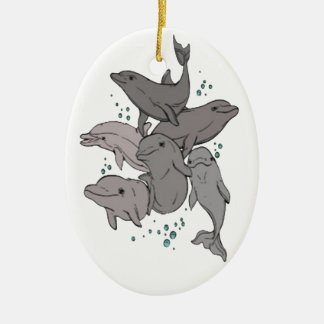 Playful Dolphins Ceramic Ornament