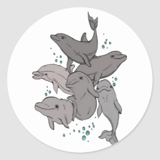 Playful Dolphins Classic Round Sticker