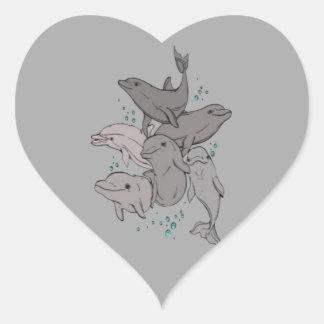 Playful Dolphins Heart Sticker