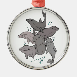 Playful Dolphins Silver-Colored Round Ornament