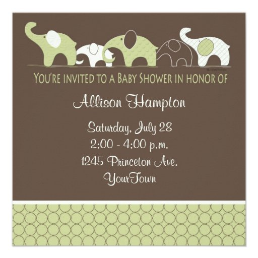 Playful Elephant Baby Shower Invitations