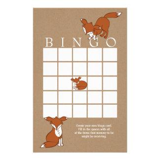 Playful Fox Baby Shower Bingo Card Customized Stationery