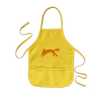Playful fox kids apron