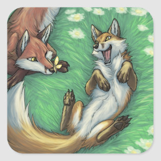 Playful foxes square sticker