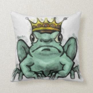 Playful Frog King Illustration Pillow