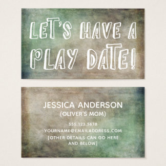 Playful Green Brown Grunge Mommy Play Date Card