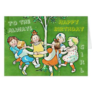 Playful green greeting card, happy birthday girl card