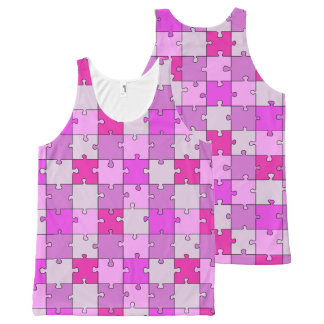 Playful Jigsaw Puzzle Pink Pieces All-Over-Print Tank Top
