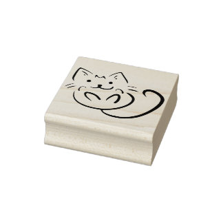 playful kitten art stamp