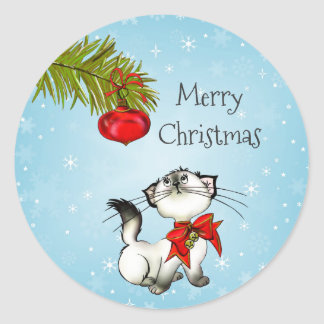 Playful Kitty Cat In A Red Christmas Bow Round Sticker