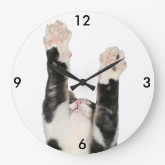 Playful kitty cat large clock