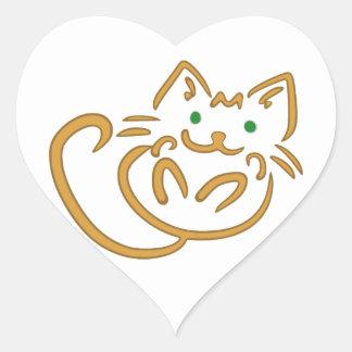 Playful Kitty Heart Sticker
